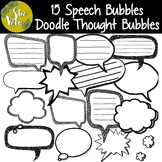 15 Doodle Speech Bubbles & Thought Bubbles