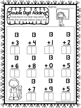 15 Double Digit Adding Worksheets. Numbers 10-20. Preschool-1st Grade Math.