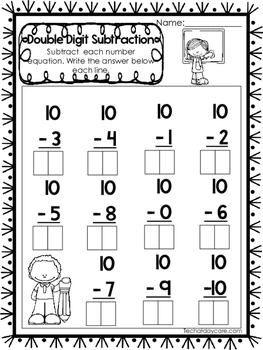 15 Double Digit Subtraction Worksheets. Numbers 10-20. Preschool-1st Grade Math.