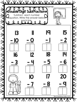 15 Double Digit Subtraction Worksheets. Numbers 10-20 ...