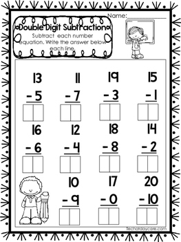 15 Double Digit Subtraction Worksheets. Numbers 10-20. Pre