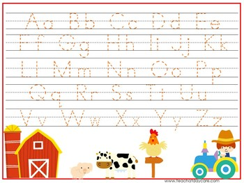 15 Down On the Farm Themed Alphabet, Numbers, and Shapes Tracing Worksheets.