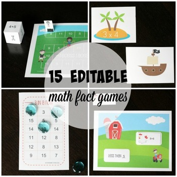 15 Math Fact Games - EDITABLE