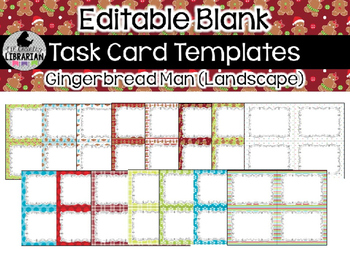 15 Editable Task Card Templates Gingerbread Man (Landscape) PowerPoint