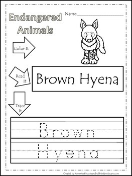 15 Endangered Animal themed printable preschool worksheets. Color, Read, Trace
