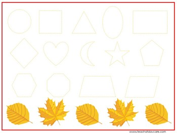 15 Fall Harvest Themed Alphabet, Numbers, and Shapes Tracing Worksheets.