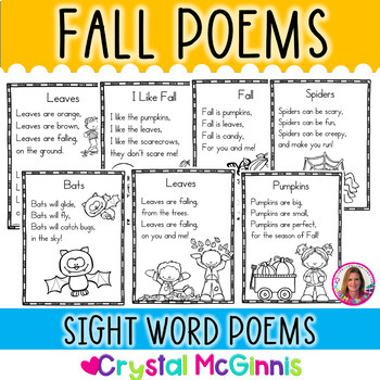 15 Fall Themed Sight Word Poems for Shared Reading (for Beginning Readers)