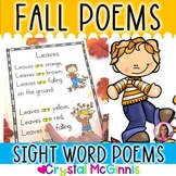 15 Fall Themed Sight Word Poems for Shared Reading- Poetry for Beginning Readers