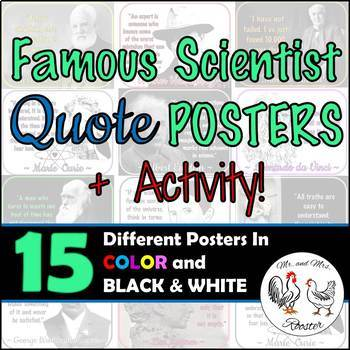 15 Famous Scientist Quote Posters + Activity {Science, History} Science Decor