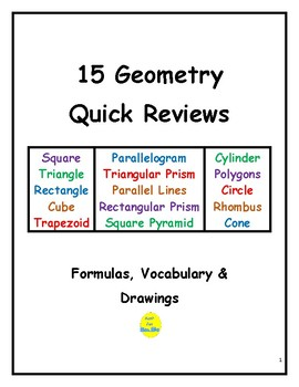 15 Geometry Quick Reviews