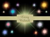 15 Glowing Starburst Overlays, Separate PNG Files, High Re