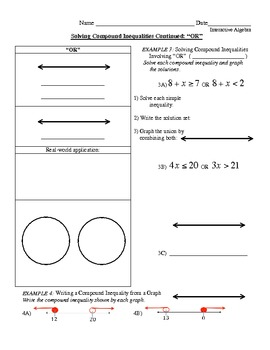 15) Guided Notes: Compound Inequalities AND/OR to accompany PPT lesson
