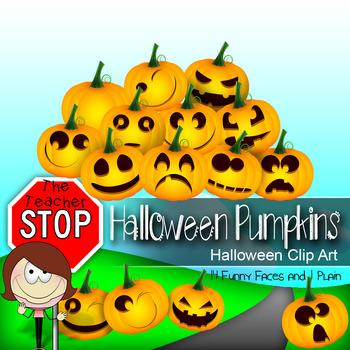 15 Halloween Pumpkins Jack-o-Lanterns Clipart {The Teacher Stop}