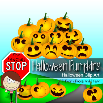 Halloween Pumpkins Jack-o-Lanterns - 15 Clipart Images {The Teacher Stop}