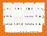 15 Halloween Themed Alphabet, Numbers, and Shapes Tracing Worksheets.
