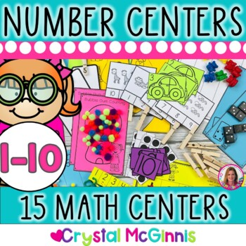 15 Hands-On Counting and Cardinality Number Centers (Black and White) 1-10