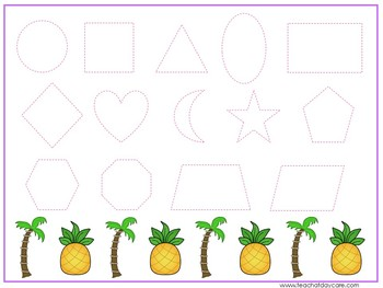 15 Hawaiian Luau Themed Alphabet, Numbers, and Shapes Tracing Worksheets.