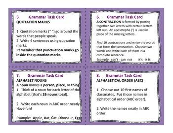 28 Language and Grammar Task Cards