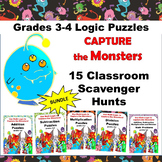 15 Math Scavenger Hunt Puzzles Games Bundle Grades 3-4