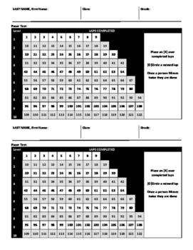 15 Meter Pacer Test Partner Score Card