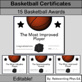 15 Middle School or High School Basketball Awards: Basketball Certificates