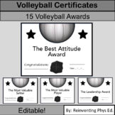 15 Middle School or High School Volleyball Awards: Volleyball Certificates