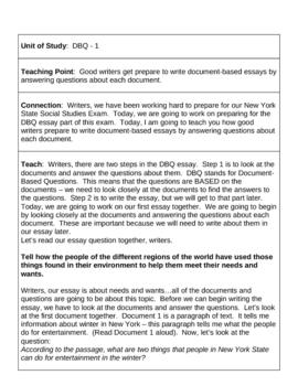 15 Minilessons - DBQ Writing TC Format (Teacher's College)