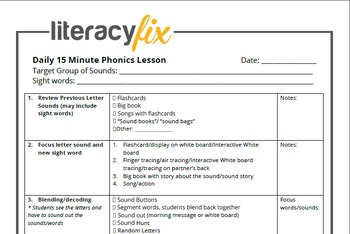15 minute phonics lesson plan template by literacyfix tpt