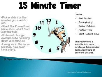 15 Minute Timer by Teacher's Take-Out | Teachers Pay Teachers