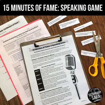 "Public Speaking Activity: ""15 Minutes of Fame"" Real World Speeches!"