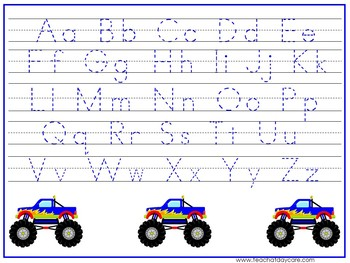 15 Monster Truck Themed Alphabet, Numbers, and Shapes Tracing Worksheets.