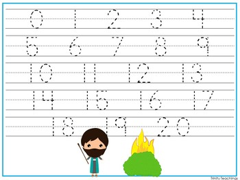 15 Moses themed Alphabet, Numbers, and Shapes Tracing Worksheets.