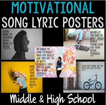 School Counseling Office Decor - 15 Motivational Song Lyric Posters for Teens