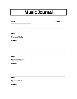 15 Music Journal Prompts/Blank Journal