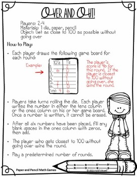 15 No Prep Math Games - Just Add Pencils and Dice!