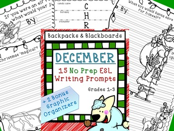 15 No Prep Writing Prompts December- Lower Level