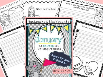15 No Prep Writing Prompts January- Lower Level