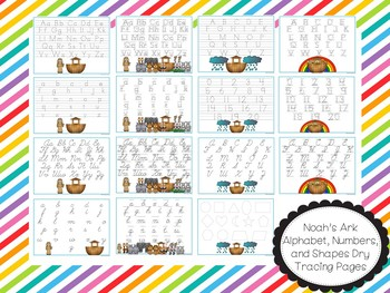 15 Noah's Ark themed Alphabet, Numbers, and Shapes Tracing Worksheets.