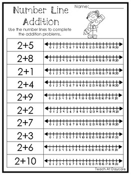 15 number line addition printable worksheets prek 1st grade math. Black Bedroom Furniture Sets. Home Design Ideas