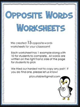 15 Opposite Word Worksheets