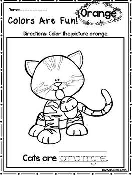 15 Orange Colors Are Fun Printable Worksheets.  Preschool-KDG. Color Recognition