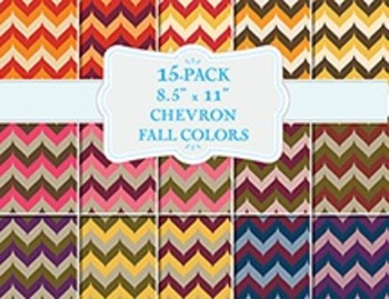 Fall Color Chevron Patterns - 15-Pack