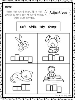 15 Parts of Speech Box Writing Worksheets. Kindergarten-1st Grade ELA.