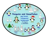 15 Penguins and 6 Snowflakes Clip Art in png format with t
