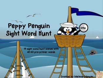 "15 Peppy Penguin ""I Spy"" Sight Word Hunts {all 40 pre-primer Dolch words}"