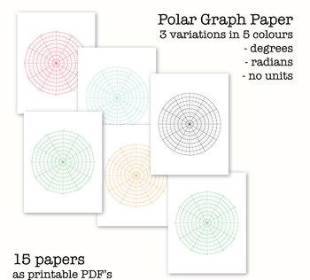 15 Polar Graph Papers - Circular Graph Paper - Digital Graph Paper, PDF