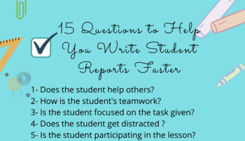 15 Questions to Help You Write Student Reports