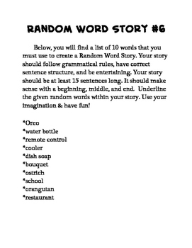 15 Random Word Stories for Middle School