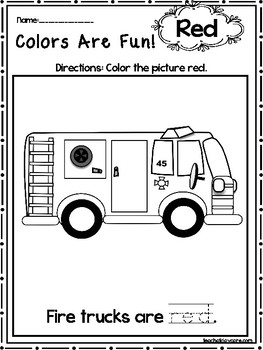 15 Red Colors Are Fun Printable Worksheets.  Preschool-KDG. Color Recognition.