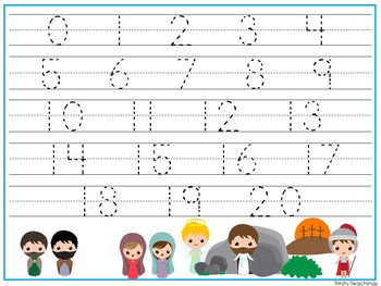 15 Resurrection themed Alphabet, Numbers, and Shapes Tracing Worksheets.
